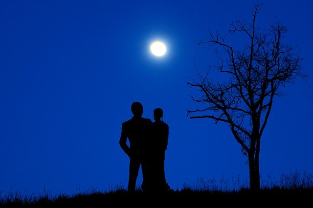 Couple Moon Silhouette Full Moon  - rauschenberger / Pixabay