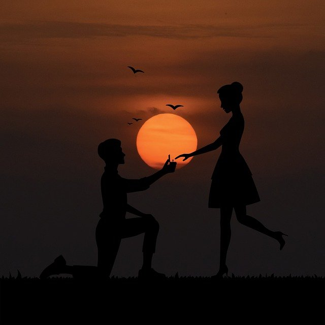 Couple Proposal Sunset Silhouette  - AlemCoksa / Pixabay