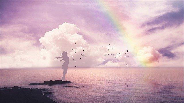 Girl Sea Woman Ocean Love Rainbow  - MARTYSEB / Pixabay