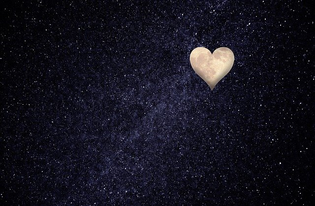 Heart Moon Night Sky Love Thoughts  - stux / Pixabay